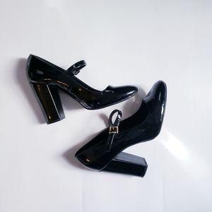 Block Heel Patent Shoes Black